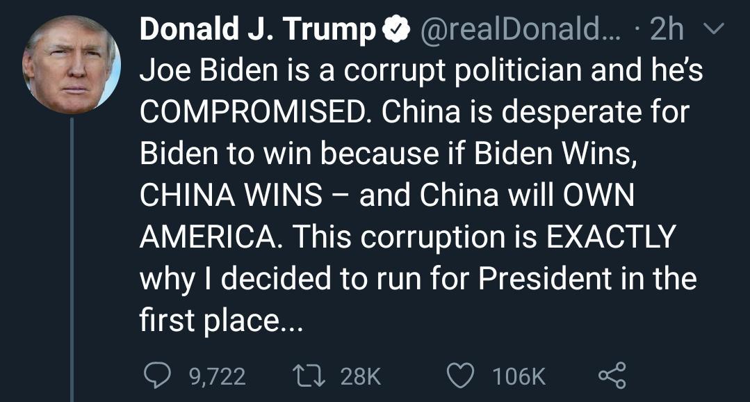 دونالد ترامپ: چین خواستار برد بایدن است